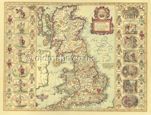Old Map Britain Saxon Heptarchy Replica Giclée HISTORIC PRINTED J Speed 17c