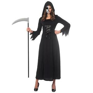 Mujer-Grim-Reaper-Muerte-Negro-Bata-Disfraz-Halloween-de-Adulto-Horror