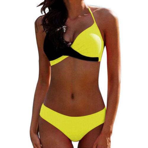 Damen Bikini Set Push-Up Gepolstert Bademode Bandage Strand Bikinihose Badeanzug