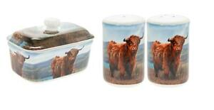 2 PCE BOXED HIGHLAND COW PORCELAIN BUTTER DISH SALT PEPPER SHAKERS CELLERS