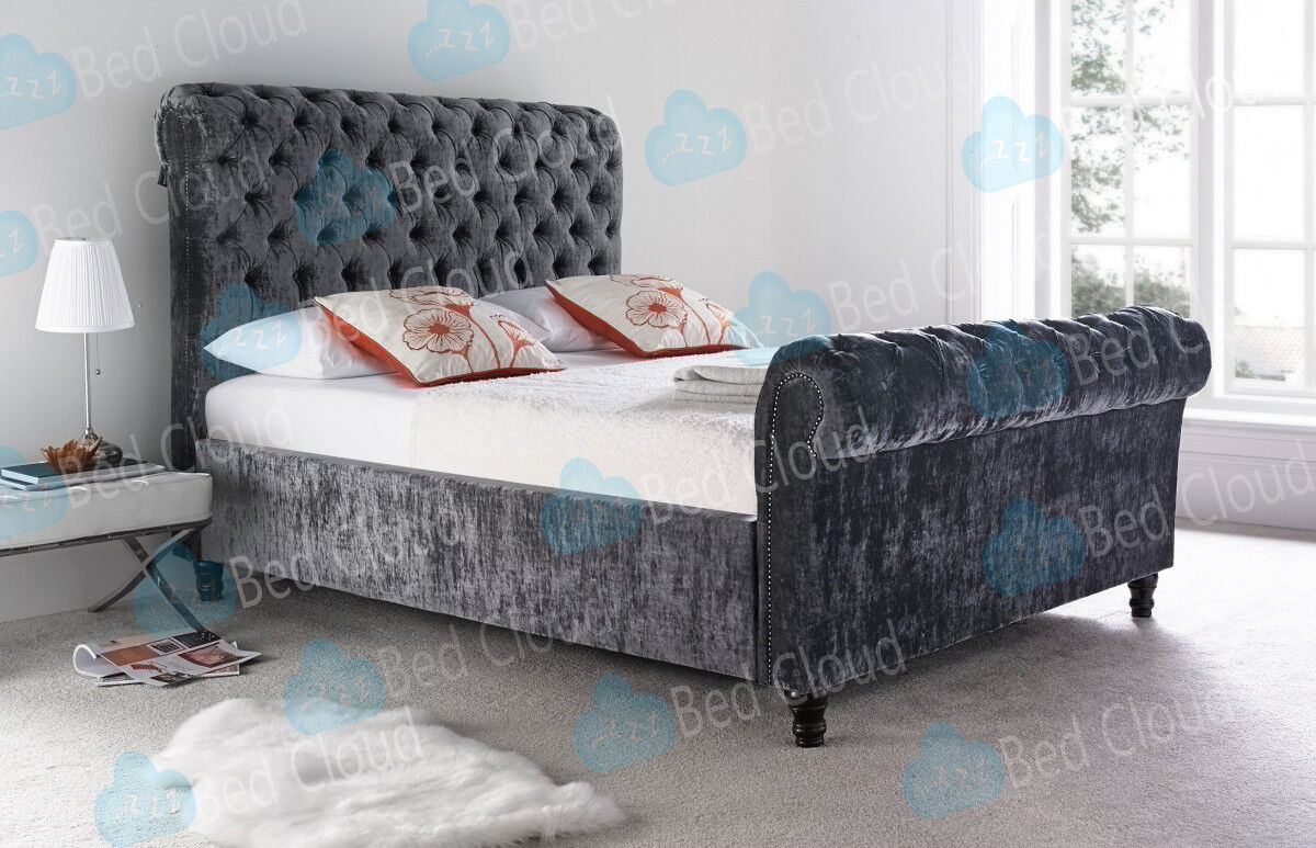 - Milan 6FT Super King Chesterfield Sleigh Bed In Various Colours