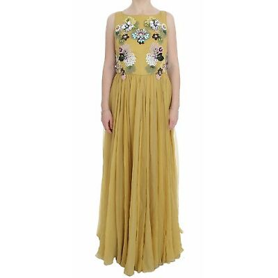 NEW $21000 DOLCE & GABBANA Dress Yellow Silk Crystal Applique Shift IT46 / US12