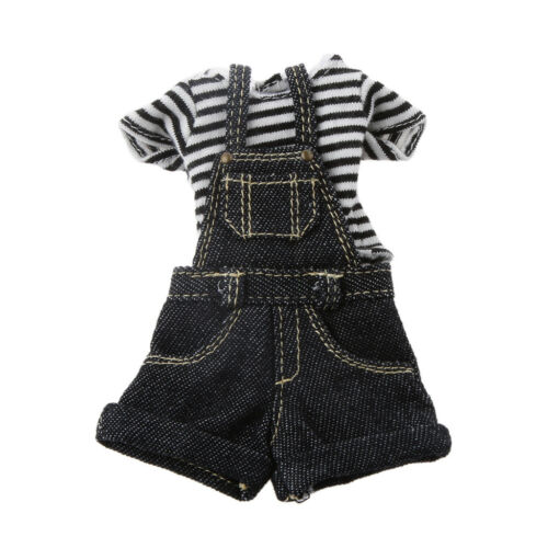 Fashion Black Stripe Shirt Jumpsuit Kit For Kurhn Blythe Doll 1//6 BJD Dolls