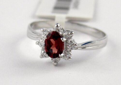 L5 Granat anillo oval esmerilado 925 plata con circonita estrellas Kranz