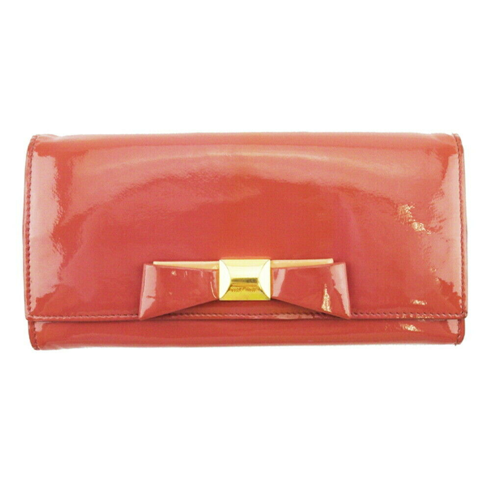 miu miu wallet ribbon pink enamel leather Auth used L3297
