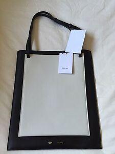 a3907ae70b Celine Black White Vertical Cabas Shopper Tote Bag Leather Handbag ...