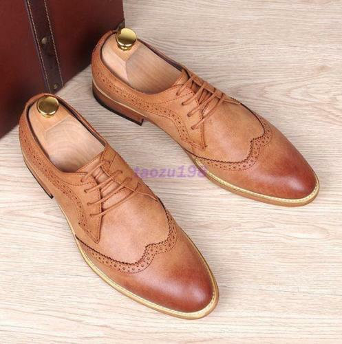 Retro oxford Men/'s Brogue Lace up Wingtip Leather Dress Formal Shoes carving