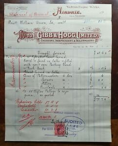 1907-Gibb-amp-Hogg-Ltd-Engineers-Victoria-Engine-Works-Airdrie-Glasgow-Invoice