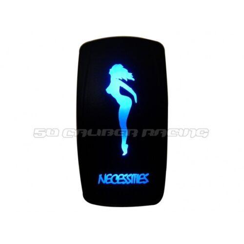 Necessities Design On/Off Rocker Switch Waterproof Blue Illuminated 12V 24V ATV