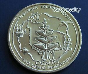 20 Cent Coin UNC 2001 Centenary of Federation Norfolk Island NL Australian 20c