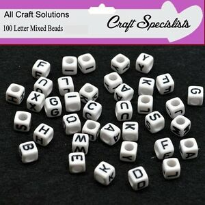 Alphabet Beads Single Letter Acrylic Beads 6mm 100 pcs WHITE CUBE
