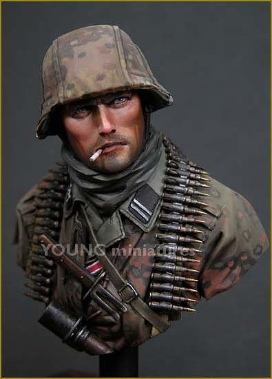 Young Miniatures Waffen SS WW2 Bust (1) WW2 Ardennes YM1804 Unpainted Kit