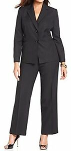 "Evan Picone Sz 6 Black Blue Pinstriped ""Park Avenue"" Business 2 PC Pant Suit"