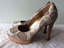 NINE WEST real leather brown/beige snakeskin platform stiletto shoe size 6/39