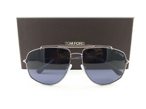 cb0a99b7915f Image is loading Tom-Ford-Sunglasses-TF496-Georges-14V-Gunmetal-Blue-