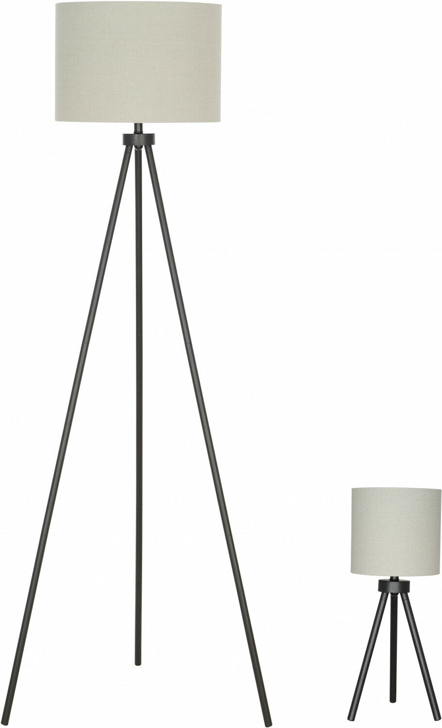 Modern Tripod Table And Floor Lamp Set Black Metal Finish Living Room Lamps