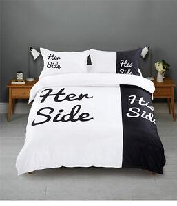 Black And White His Side Amp Her Side Duvet Cover Pillowcases