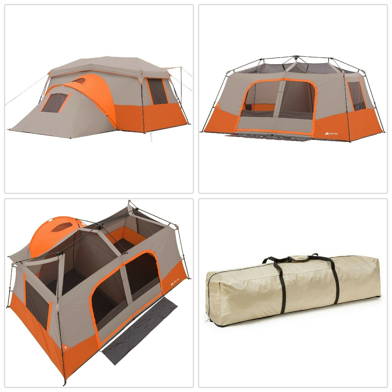 Instant Cabin Camping Tent 3 Rooms with Private Room 11-Person Family Shelter