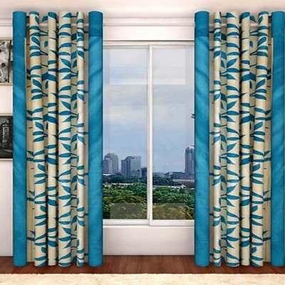 SA Premium Firozi Blue Leaves 7Ft Door Curtains-Set of 2