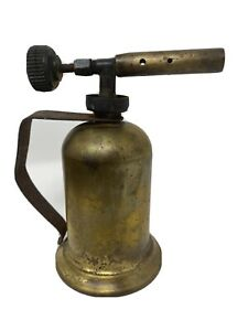 Vintage-Small-Brass-Blow-Torch-4-5-Tall