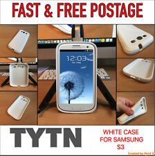 BRILLIANT WHITE RUBBERISED CASE/COVER FOR SAMSUNG S3 - * UK SELLER * FAST P&P *
