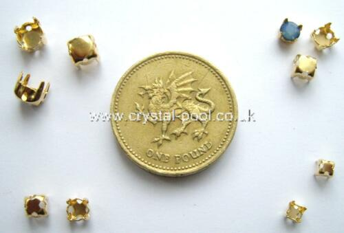 30 x 24ss goldtone rhinestone chaton sew-on claw settings