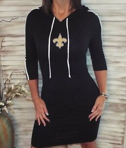 cheap for discount 93b96 0fc4b Details about New Orleans Saints Fleur de Lis Hoodie Bodycon Stretch 3/4  Dress Black S/M/L