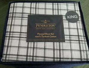 KING Bedding Gavin Plaid 100/% Turkish Cotton Pendleton Flannel Sheet Set