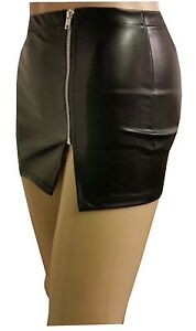 new womens black leather look with zip micro