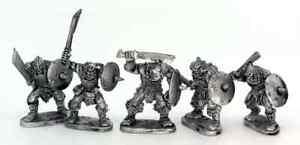 Half-Orcs-With-Hand-Weapons-x5-28mm-Unpainted-Metal-Wargames