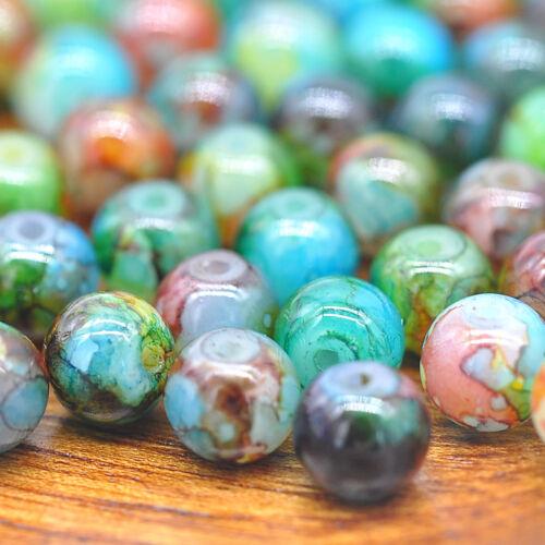 Hot 30Pcs 8mm Doble Color Perla redonda de cristal espaciador granos flojos joyería haciendo