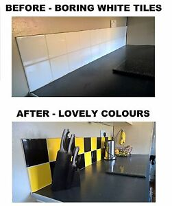 black yellow stickers transfers for kitchen bathroom tiles 6 x 6