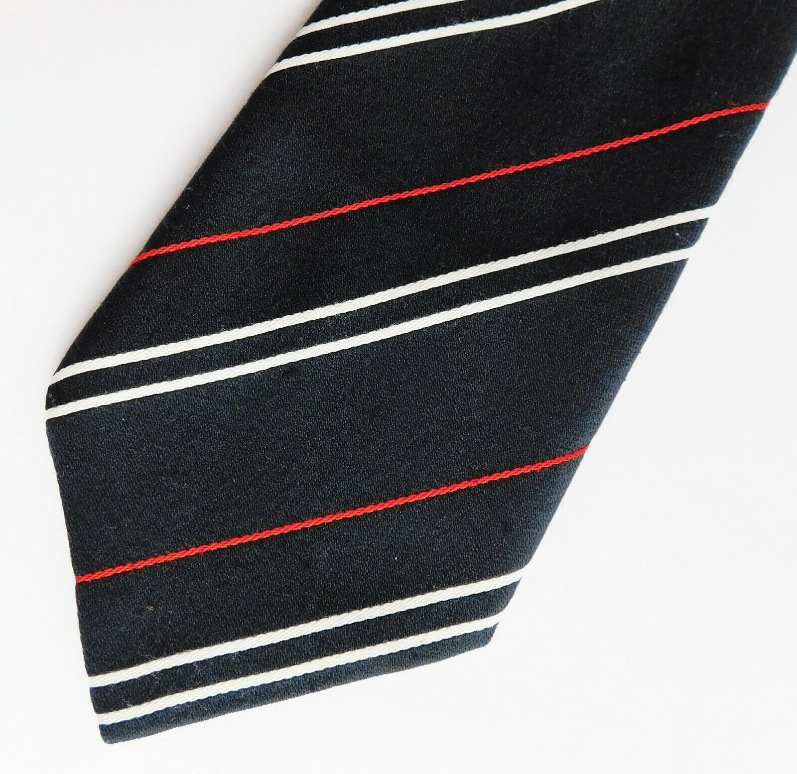 Vintage Tootal striped tie very dark navy blue with red and white stripes