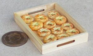 1-12-Scale-12-Loose-Bread-Ring-Rolls-On-A-Wood-Tray-Tumdee-Dolls-House-Bakery
