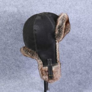 Men Faux Leather Fur Aviator Trapper Hat Cap Flying Ushanka Beanie ... dd6a40d59f8d
