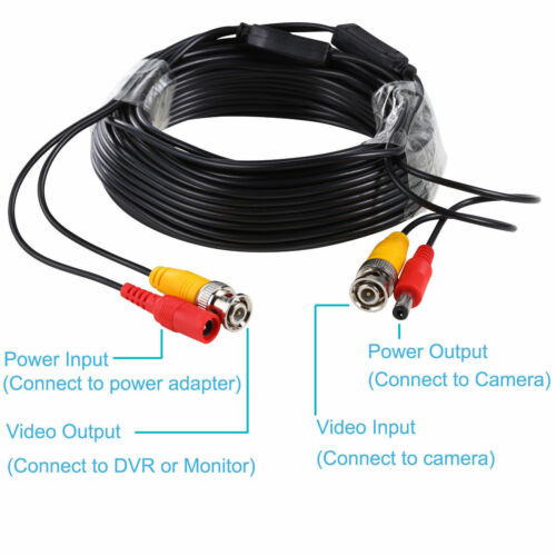 65ft 100ft DVR Recorder Wired Power Supply BNC DC Cable For CCTV Security Camera