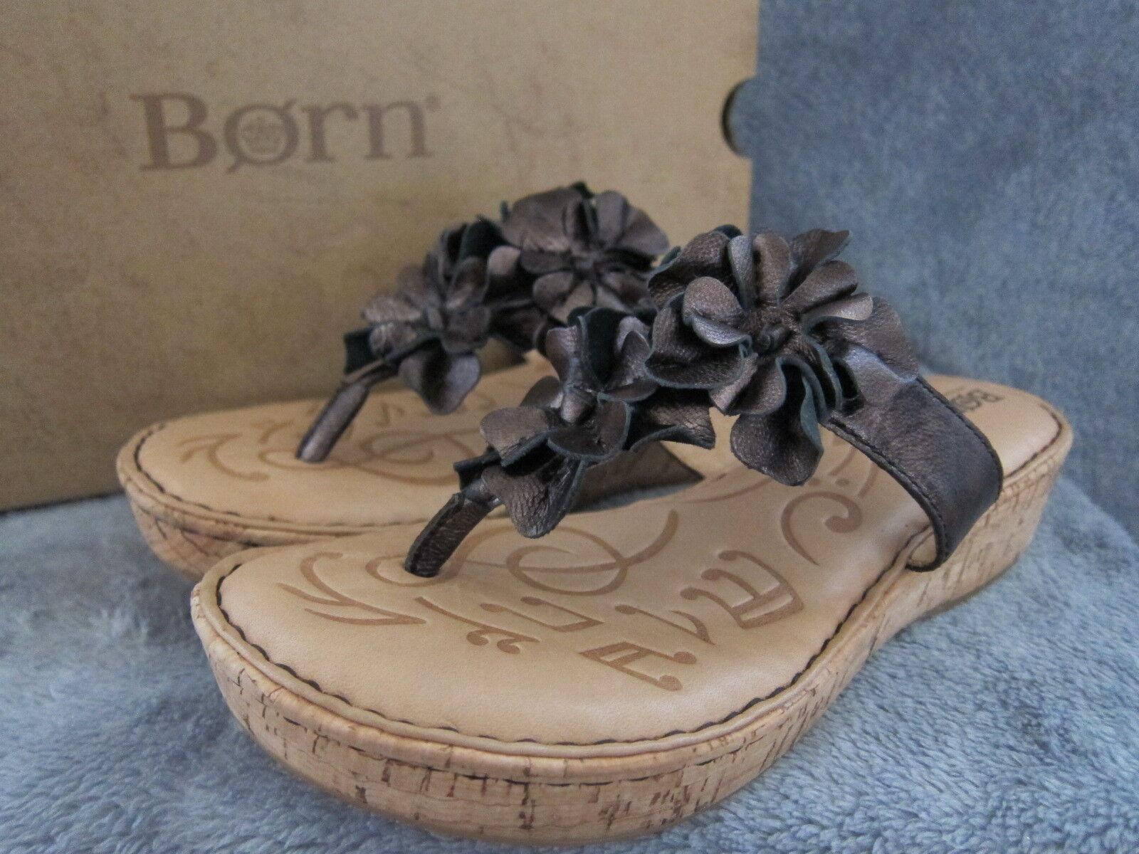 BORN BORN BORN B77023 Womens Kimona Dark Brown Leather Sandals shoes US 6 EUR 36.5 NWB a64c5d
