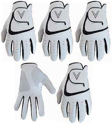 5 All Weather Soft Golf Gloves Leather Palm Patch Gents V Logo