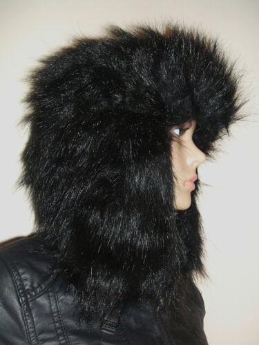 BNWT MENS LADIES BLACK FULL FAUX FUR RUSSIAN TRAPPER COSSACK WINTER SKI HAT