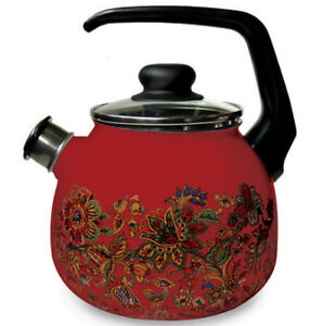 Enamel-Kettle-Enamelware-Teapot-Red-w-Floral-Decal-High-Quality-made-in-Russia