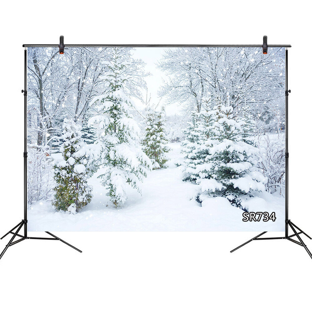 New Winter Heavy Snow Backdrop 7X5FT Vinyl Rural Forest Trees Snow Covered Landscape Backdrops Highway Christmas Photography Background for Family Greeting Happy New Year Photo Studio Props 866