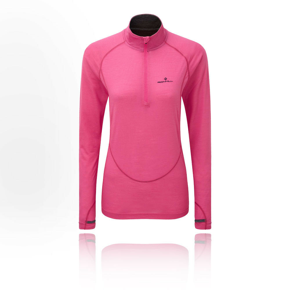 RonHill Womens Infinity Merino 1 2 Zip Top Pink Sports Running Half Breathable