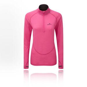 RonHill-para-mujer-Infinity-Merino-1-2-Cremallera-Superior-Rosa-Sports-Running-media-Transpirable