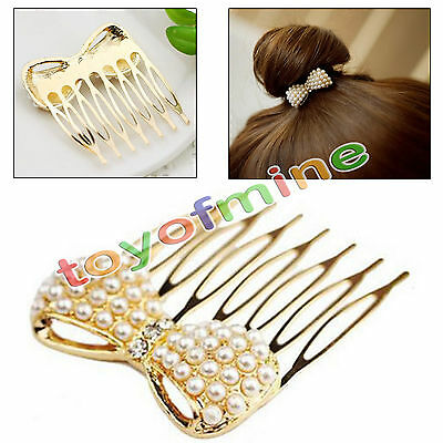 Cute Pearl bow exquisite little comb hair jewelry