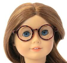 Round, Brown Framed Glasses with Clear Lense - Fits American Girl Dolls - Molly
