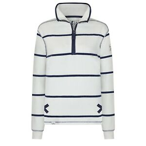 Lazy-Jacks-Ladies-1-4-Zip-Stripe-Sweatshirt-White-LJ35