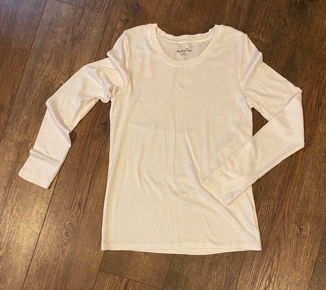 EDDIE BAUER Women's WHITE Long Sleeve T-Shirt Size M Medium NICE!!