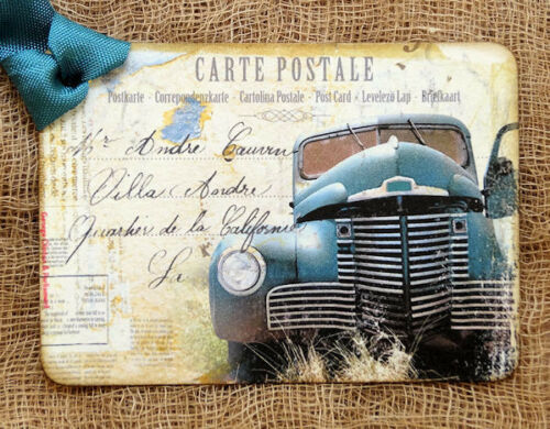 Hang Tags  OLD BLUE TRUCK POSTCARD TAGS or MAGNET #699  Gift Tags
