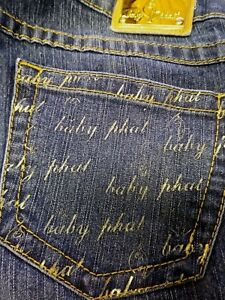 BABY-PHAT-Juniors-Denim-Blue-Jeans-Yellow-Stitches-Writing-On-Pockets-Size-9
