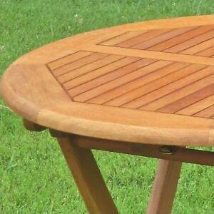 International Caravan Balau 28 Wood Round Folding Patio Table